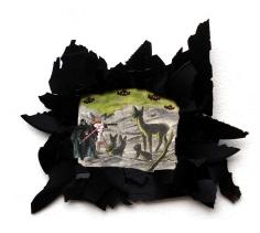 Bambi vs. Dart Vader 2010, Papier, Vinyl, Holz 39 x 33 x 2 cm