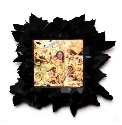 Alte Schule 2010, Papier, Vinyl, Holz 40 x 40 x 2 cm
