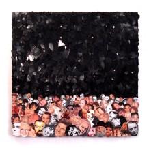 Kein Liebeslied 2010, Papier, Vinyl, Spiegelscherben, Holz 49 x 82 x 2 cm