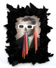 Fehlhauer 2011, Foto, Luftballons, Vinyl, Holz 48 x 47 x 2 cm