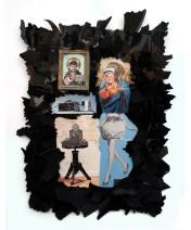 Heilige Geschichte 2012, Papier, Vinyl, Holz 51 x 38 x 2 cm