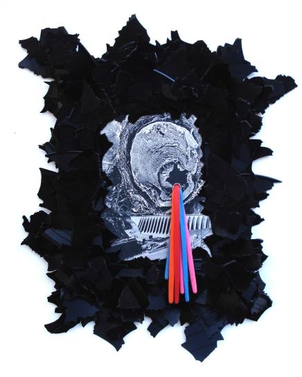 Damm 2012, Papier, Vinyl, Luftballons, Holz 48 x 39 x 2 cm