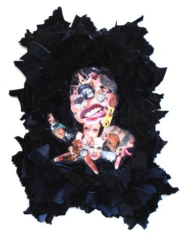 Unbekannte Person 2012, Papier, Vinyl, Holz 47 x 37 x 2 cm