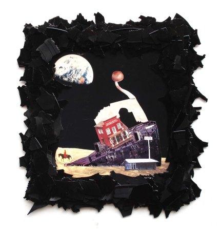 Mondraststätte 2012, Papier, Vinyl, Holz 41 x 39 x 2 cm