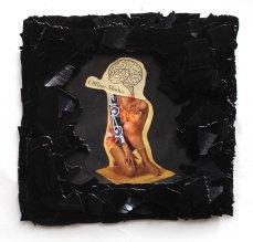 Off line modus 2012, Papier, Vinyl, Holz 28 x 28 x 2 cm