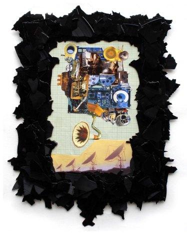 Raumschiff bauen 2012, Papier, Vinyl, Holz 49 x 36 x 2 cm