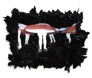 Tanzpilz 2012, Papier, Vinyl, Holz 36 x 47 x 2 cm