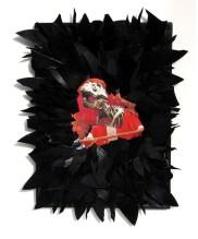 Papa Rex 2008, Papier, Vinyl, Holz 40 x 33 x 2 cm