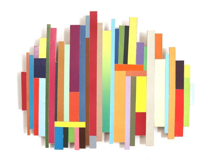 Dancing Stripe 17 2018, Plattencoverfragmente (Papier), Holz, Mdf, 35 x 43 x 2 cm