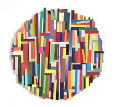 Dancing Stripe 19 2018, Plattencoverfragmente (Papier), Holz, Mdf, 66 x 65 x 2 cm
