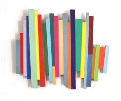 Dancing Stripe 2 2017, Plattencoverfragmente (Papier), Holz, Mdf, 28 x 32 x 2 cm