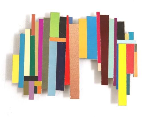 Dancing Stripe 21 2018, Plattencoverfragmente (Papier), Holz, Mdf, 21 x 32 x 2 cm