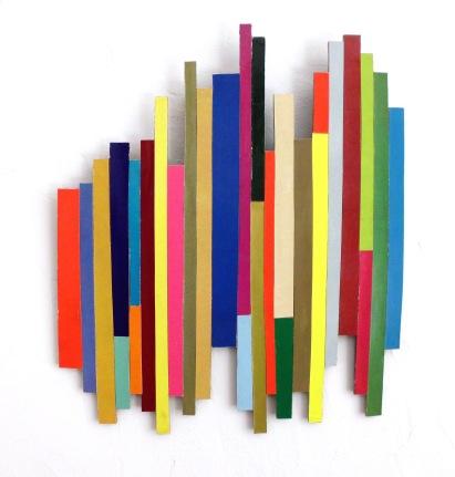 Dancing Stripe 6 2017, Plattencoverfragmente (Papier), Holz, Mdf, 32 x 33 x 2 cm