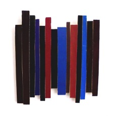 Dancing Stripe 9 2017, Plattencoverfragmente (Papier), Holz, Mdf, 24 x 25 x 2 cm