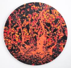 Crater 2019, vinyl, aludibond, 117 x 117 cm