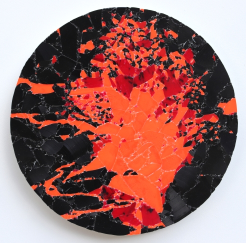 Lava Eruption 2019, vinyl, aludibond, 41 x 41 cm