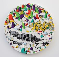 Ups & downs 2019, vinyl, mdf, wood, 58 x 58 cm