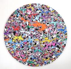 Voynich Splatter Flow 2019, vinyl, aludibond 148 x 148 cm
