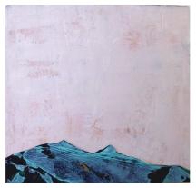 Kleiner grüner Berg 2014, Polyethylen & Spachtelmasse auf Holzplatte, 52,5 x 56 x 2 cm
