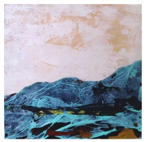 Großer grüner Berg 2014, Polyethylen & Spachtelmasse auf Holzplatte, 52,5 x 56 x 2 cm