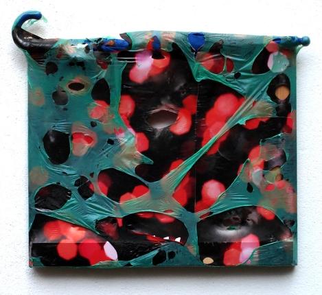 Schirm 2010, Polyethylen & Schirm auf Keilrahmen, 48 x 58 x 4,5 cm