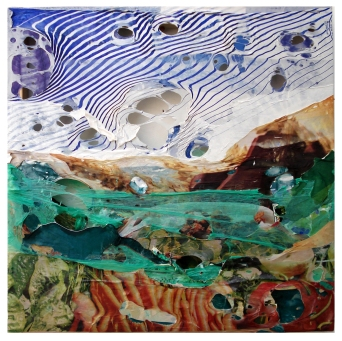 Schokoberg 2011, Polyethylen auf Keilrahmen, 38,5 x 38,5 x 4 cm