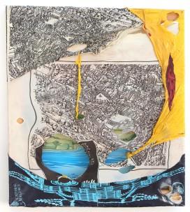 Stadt, Land, Fluß 2008, Polyethylen auf Keilrahmen, 45 x 40 x 2 cm